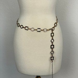 Chain Belt Circle Square Links Gold Silver
